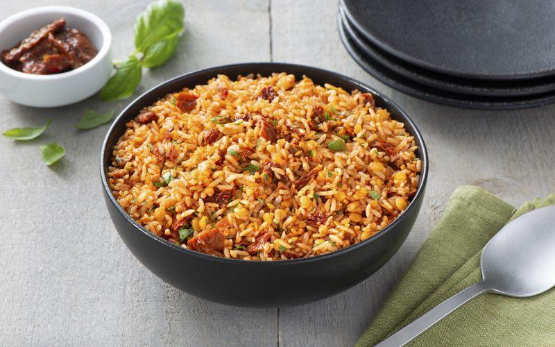 Tomato Basil Rice Lentil Pilaf